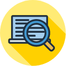 Online Research quick link icon with laptop and magnifying glass graphic
