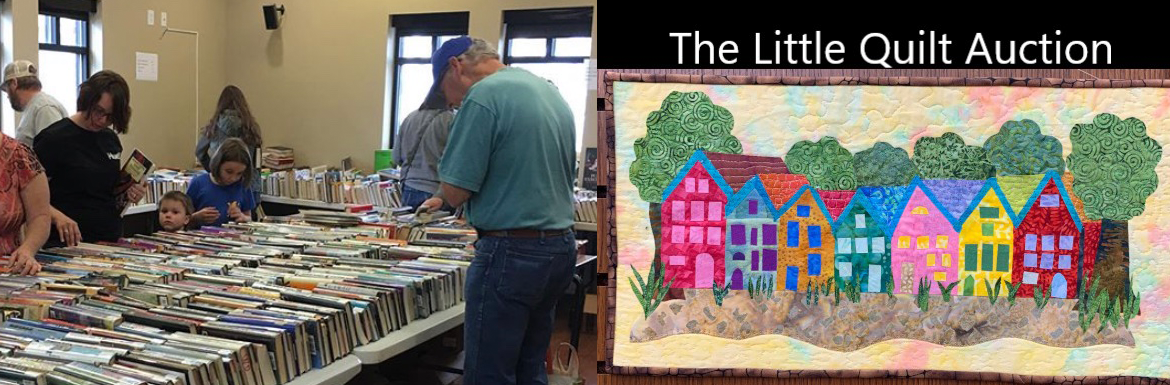 Pictures from Friends of the Library Events: one depicting people shopping during the used book sale and one of the little quilt auction