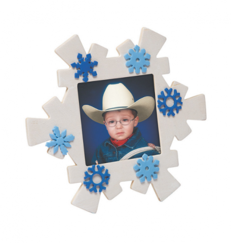 wooden snowflake picture frame