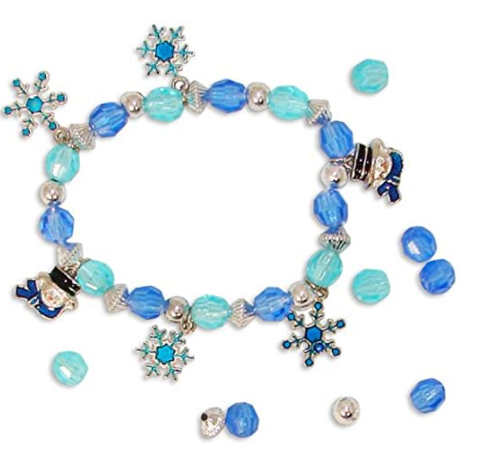 blue and silver beaded snowman charm bracelet